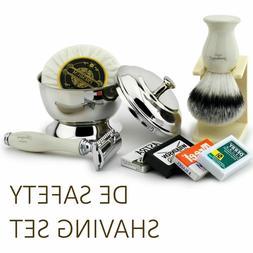 5 Piece Shaving Gift Kit for Men DE Safety Razor, Synthetic