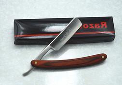 Straight Edge Razor Steel Folding Shaving Wood Handle Knife