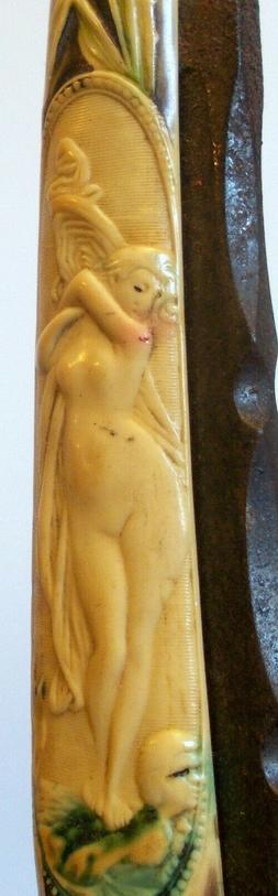 Antique Art Nouveau Straight RAZOR BLADE NUDE WOMAN Lady GER