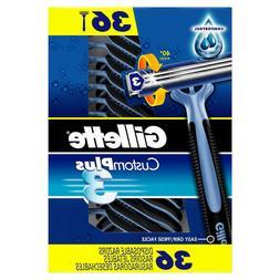 Gillette custom plus 3 disposable razors, 36 ct