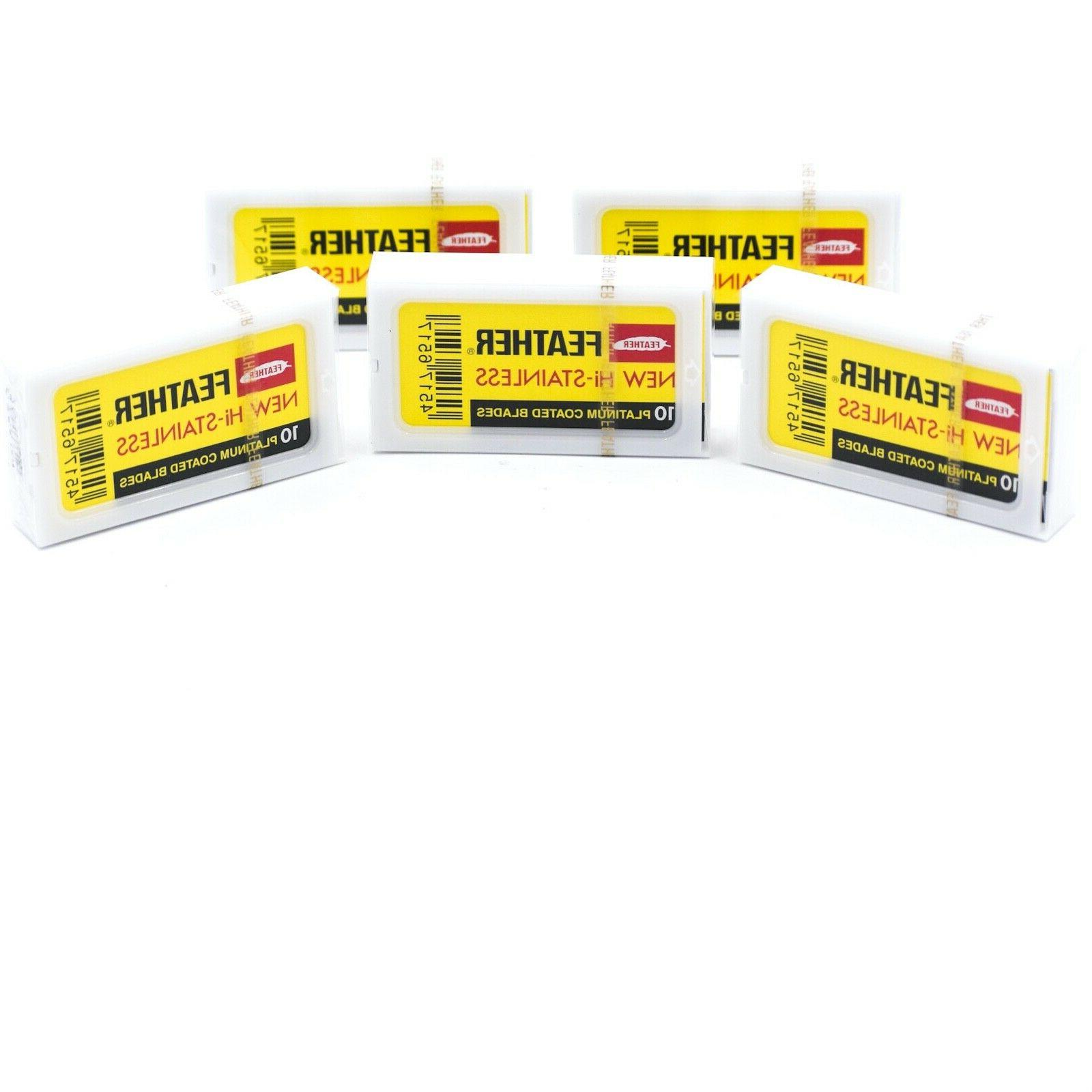 50 FEATHER Hi-Stainless Platinum Double Edge Safety Razor Bl