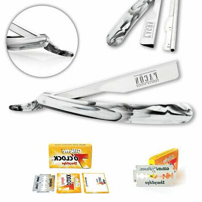 100 BLADES + CLASSIC STAINLESS STEEL STRAIGHT EDGE BARBER RA