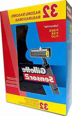 Gillette Sensor 2 Disposable Razors, 32 Pack, Fixed Head, Lu