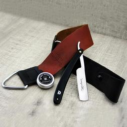 Men's Shaving Kit With Leather Strop,Black Handle Straight r