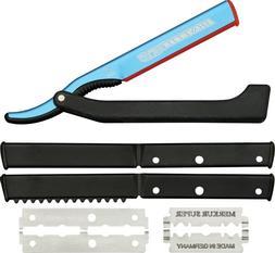 Dovo Shavette Straight Razor Kit. Blue ALUMINUM / Black Hand