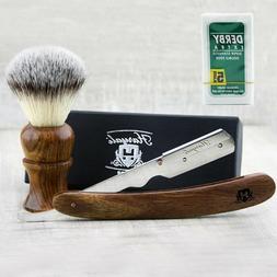 Men's Shaving Brush With Synthetic Hair & Round Straight Raz