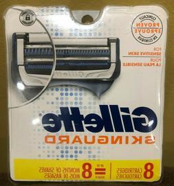 Gillette Skinguard Razors/Blades/Cartridges Refills - 8 Pack