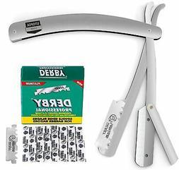 100 Derby Blades + Stainless Steel Straight  Edge Barber Raz