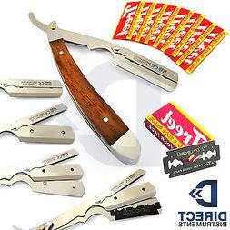 Wood Handle Straight Edge Barber Hair Shaving Razor Folding